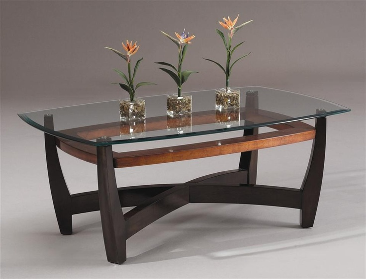 Rectangular cocktail table w wood base beveled glass top for Rectangular coffee table with glass top