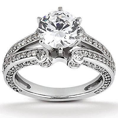 2/3 ct. Round Engagement Ring (F Color, VVS Clarity) in 14k White Gold. By American Diamonds Forever