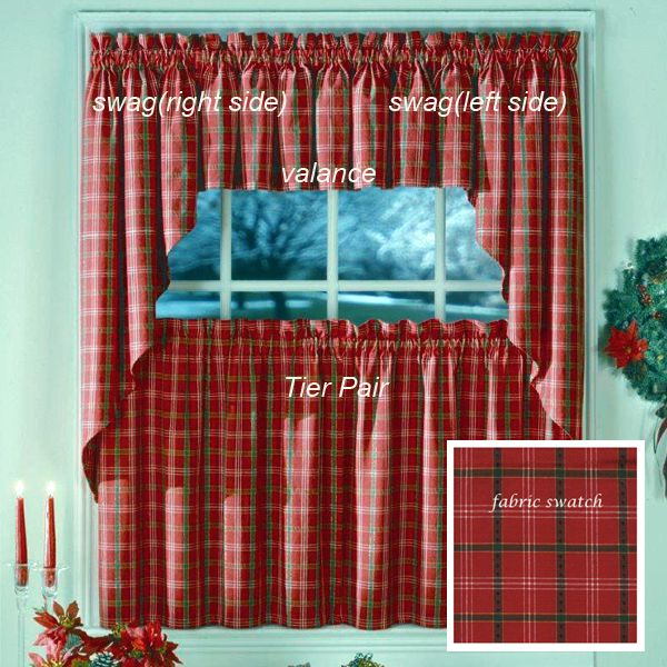 """Kitchen Christmas Curtains Amazon Com: 24"""" Woven Holiday Plaid Tier Pair"""