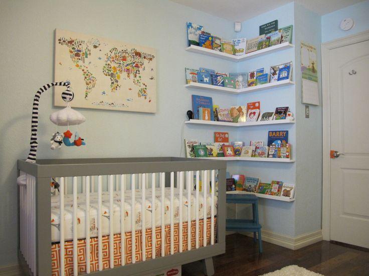 Orange, Gray & Turquoise Wanderlust Nursery - can't get enough of the corner bookshelves!