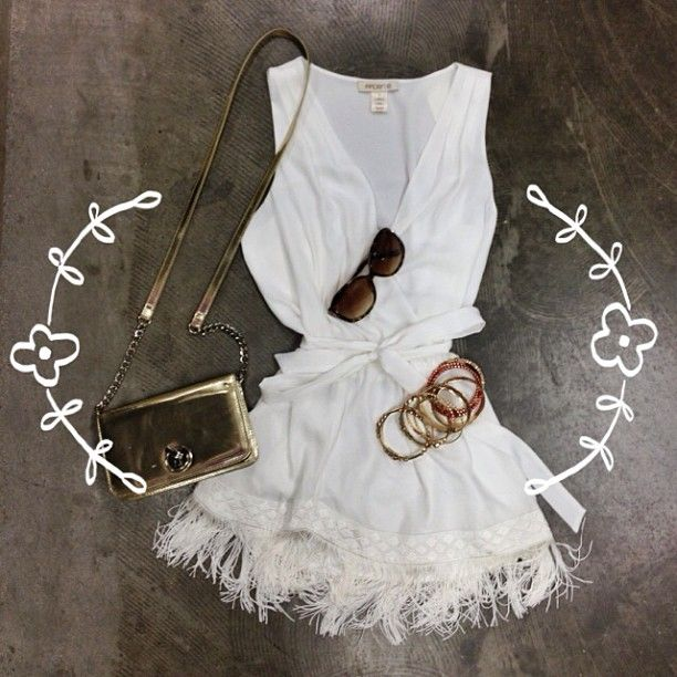 @Arden B. | This white tunic matched with denim is pure perfection! #summer #gold