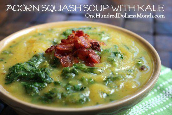 Acorn Squash Soup with Kale | food | Pinterest