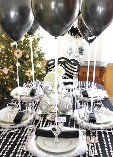 Black and White New Years Eve party - like the balloons tethered at place settings, and interesting textural table cover