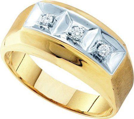 mens 3 stone diamond wedding band ring satin 2 two tone yg wholesale