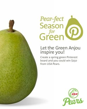 "Here's how to enter:  (1) Follow USA Pears on Pinterest  (2) Create a Pinterest board and name it ""Pear-fect Season for Green""  (3) Fill it with at least 10 spring inspired and green-themed photos – a minimum of three must be repins from USA Pears' Pinterest boards. Think landscapes, art, cocktails and pears, of course!  (4) Tag all the pins on your board with #springforpears and #usapears  (5) When you're done, repin this #contest pin!"