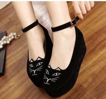 Women Cute Sweet Cat Fashion Style Strap High Heels Platform Wedges