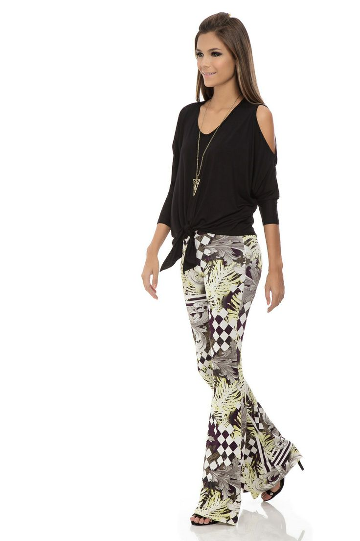 Calça Flare Estampa Losango em Arabesco - roupas-calcas-calca-flare-estampa-losango-em-arabesco Iorane