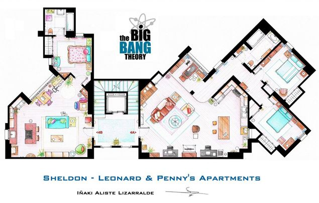 Floor Plans of the Big Bang's apartments. Oooo, I love floorplans. And Sheldon. :-)