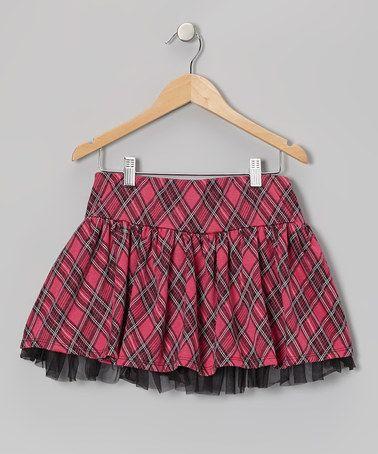 Hot Pink Plaid Skirt 106