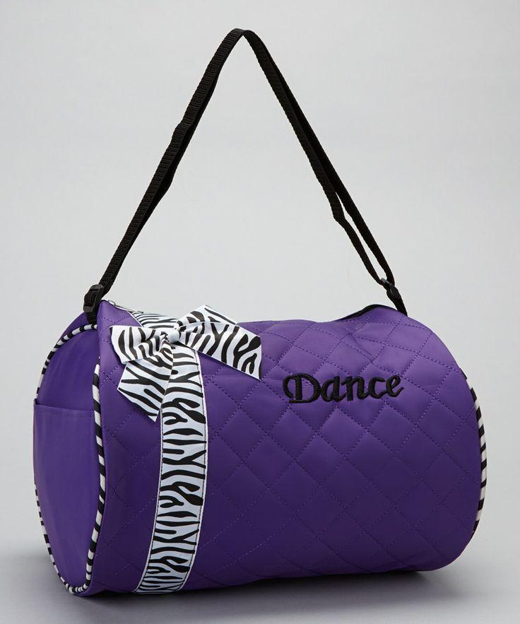 Purple Zebra Bow 'Dance' Duffel Bag