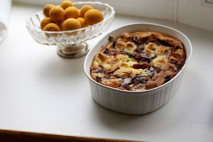 Nutella Bread Pudding with Dates: Think I would replace the dates with ...