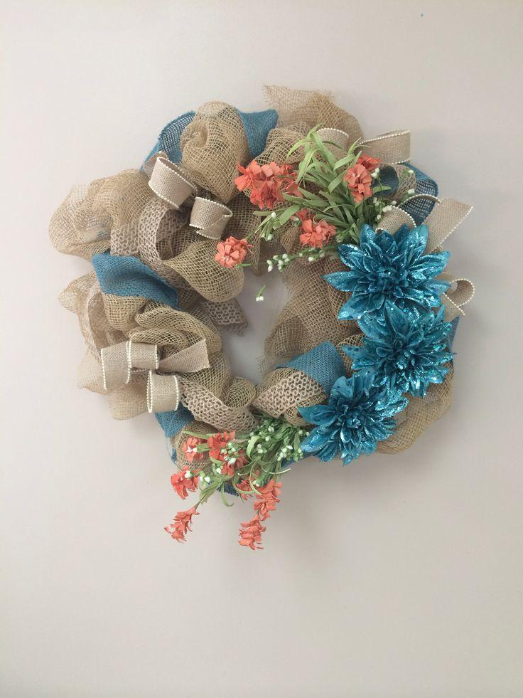 Spring burlap wreath home pinterest