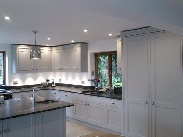 Pavilion grey painted kitchen renovations pinterest for Paint kitchen units grey