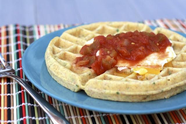 Savory Cornmeal Waffle (with Poached Egg and Salsa)