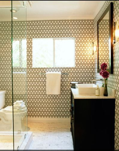 color inspiration, a dark cabinet with light grey patterned walls.
