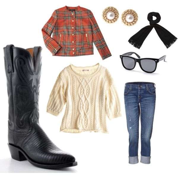 Rainy Day cozy. Gussy up those boots! A cozy and cute outfit for dreary days like today..., created by allensboots.polyvore.com with Womens Lucchese Lizard Boots Black via @Allens Boots