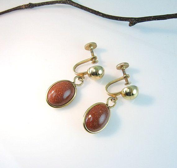 Vintage Goldstone Dangle Earrings Glittering by bohemiantrading, $22.00