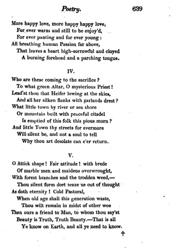 john keats ode on a grecian urn thesis John keats ode on a grecian urn essay so, we're going to compare the publication of keats's first book of poems, which included this ode, to the time when.