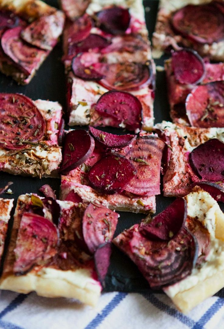 roasted beet + goat cheese tart. passports and pancakes blog