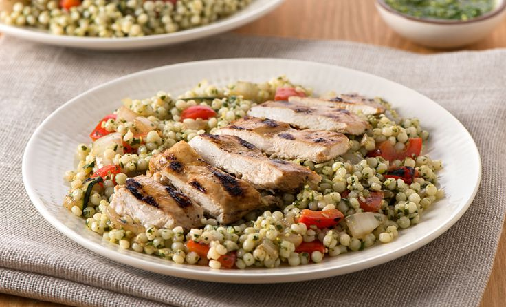Pesto Couscous Salad with Grilled Chicken and Vegetables | Recipe