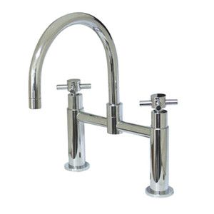 inch Center Deck Mount Bridge Kitchen Faucet Chrome eBay