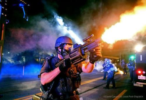 These are the weapons police in Ferguson, Missouri [many from St. Louis and surrounding suburbs) on people daring to protest against the police assassination of unarmed teenager Michael Brown.