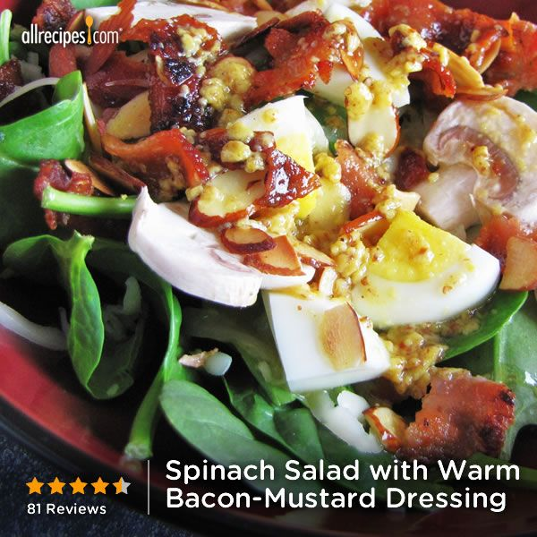 "Spinach Salad with Warm Bacon-Mustard Dressing | ""AMAZING and in my ..."
