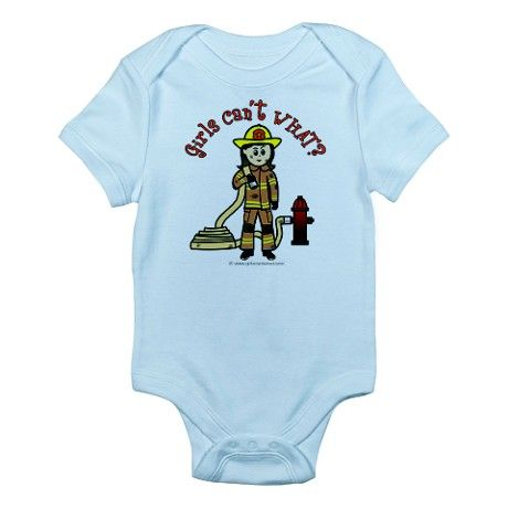 Firefighter girl infant bodysuit on