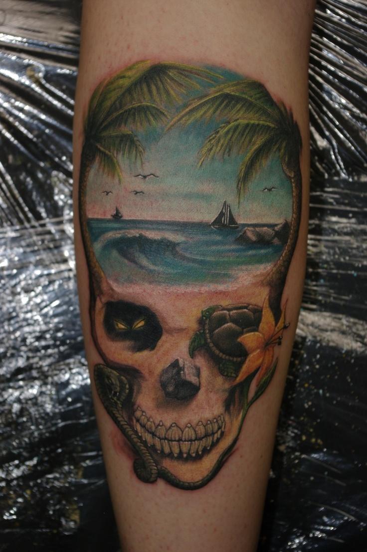 Beach scene skull tattoos for life pinterest for Beach scene tattoos