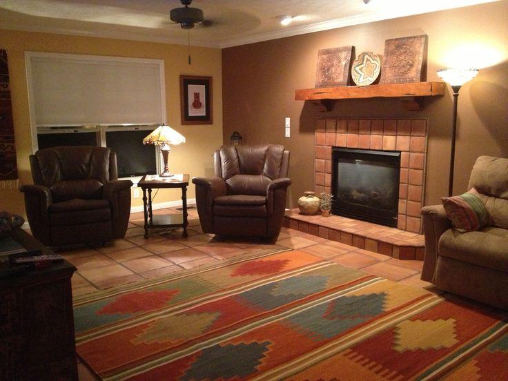 16x16 Saltillo Mexican Terracotta Tile Lving Room Floor With 6x6 Saltillo Til