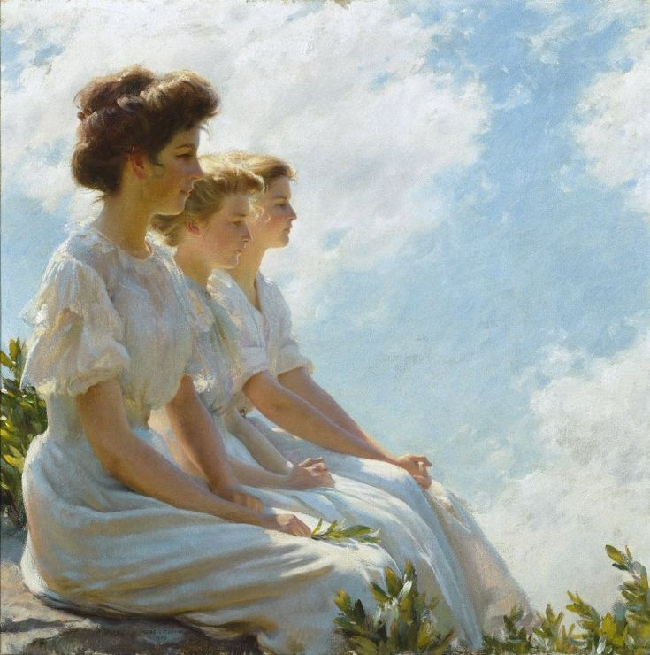 On the Heights, 1909  Charles Courtney Curran was an American Impressionist painter... my three girls