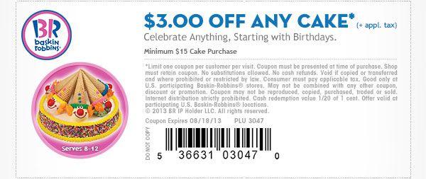 Baskin robbins cake coupon online