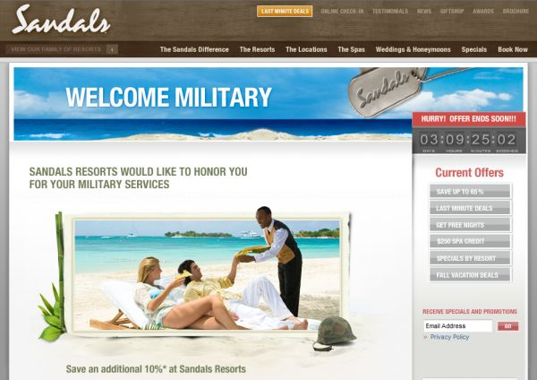 Sandals sandals military discount for Restaurants that offer military discount