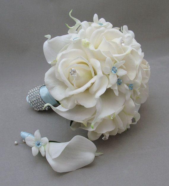 Blue Wedding Flower Package Bridesmaid Bouquet Groomsman Boutonniere