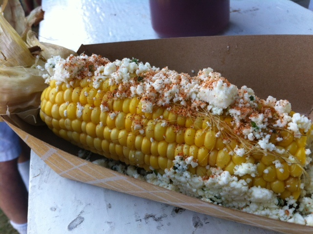 grilled corn with cilantro, lime & feta Don't forget the chili powder!