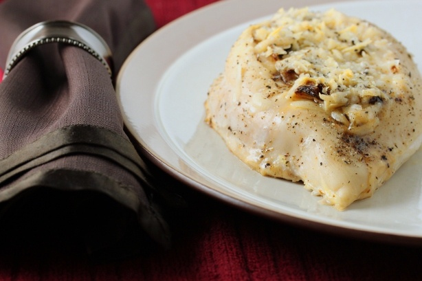 Chicken Breast Stuffed with Fig Jam, Caramelized Onions, and Parmesan
