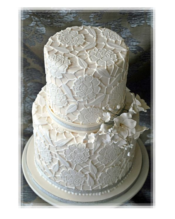 Cake Decorating Lace Pattern : White Lace Pattern Wedding Cake Picture Cakes are Sweet ...