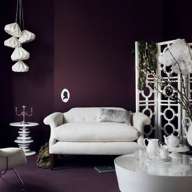 Wall color plum wall ceiling color paint wall for Dark purple wall color