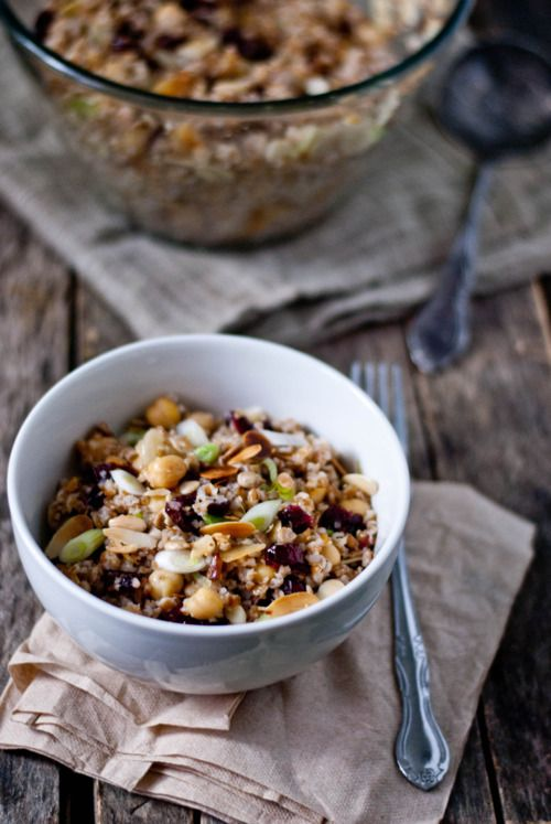 Bulgur & Chickpea Salad with Cranberries, Toasted Almonds + Cumin-Lime ...