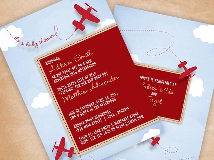 airplane baby shower invitation via etsy