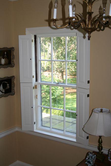 Interior Window Shutters With Fabric Inserts : Found on shuttercraft.com