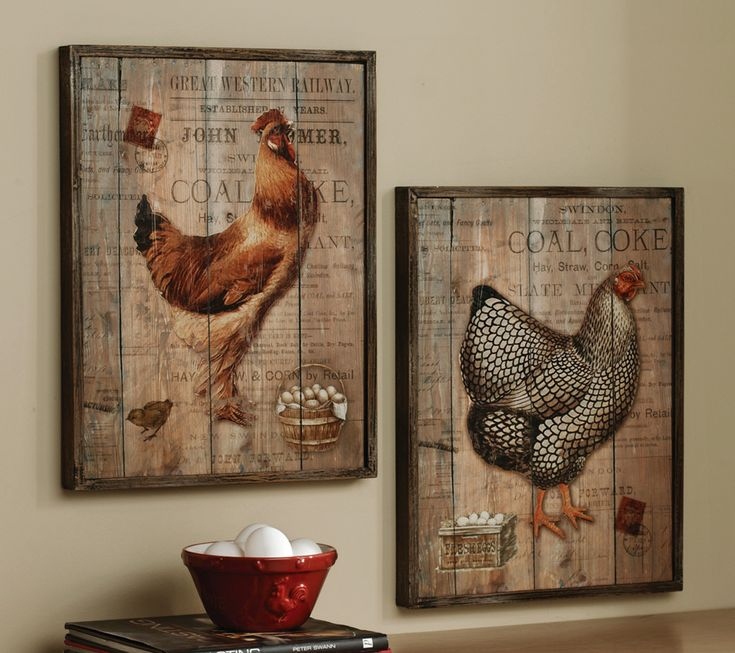 Country Kitchen Wall Decor: Rustic Rooster And Hen French Country Wall Decor