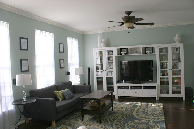 White, teal, green and gray family room/living room/great room | Home ...
