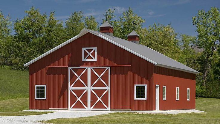 Pole barn hobby bulding with crossbuck doors peru for Barn house indiana