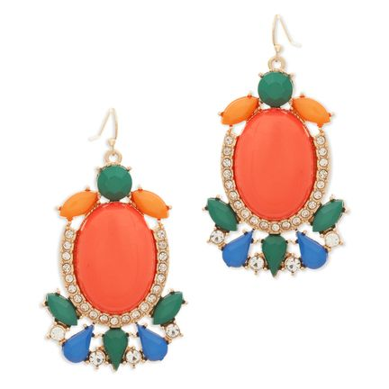 House of KL STACIA EARRINGS $28   $32    Go bold with the Stacia coral earrings. Add a bit of punch and more than a pop of color with this lush statement pair. A border of sparkling CZ's adds extra shine to Stacia's vivid coral, green, blue and orange palette.