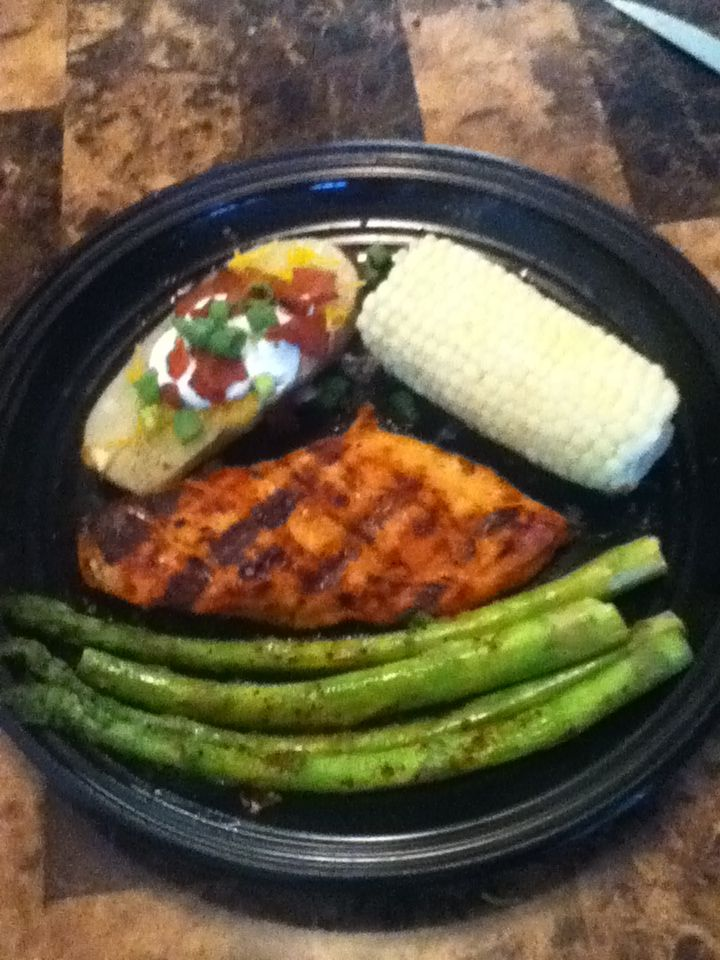 Grilled chicken breast & Asparagus with pressure cooked corn & baked ...