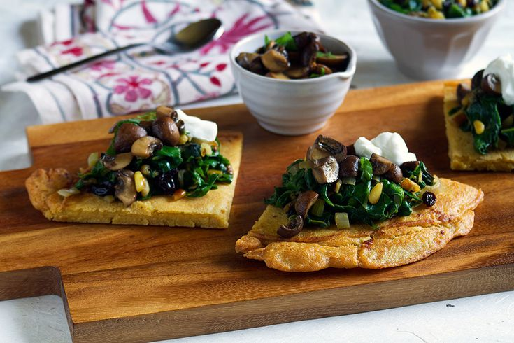chickpea socca with willted greens and mushrooms - omit the yoghurt ...