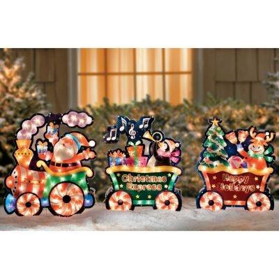 Christmas train yard art yard decorations pinterest for Outdoor christmas train decoration