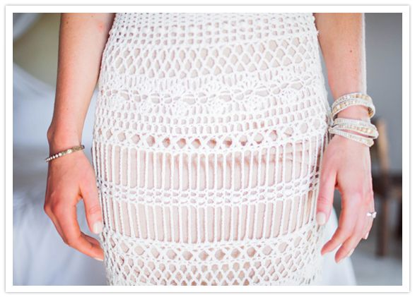 Catherine Malandrino crochet dress + Chan Luu bracelets