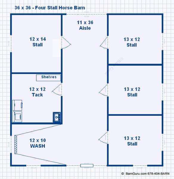 1 stall horse barn plans 4 stall layout barn pinterest for 8 stall barn plans